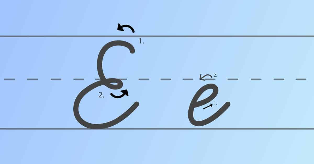 cursive e
